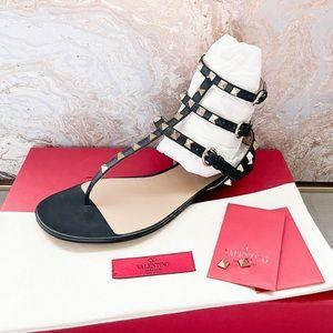 Valentino Rockstud Multi Strap Thong Flat Sandals